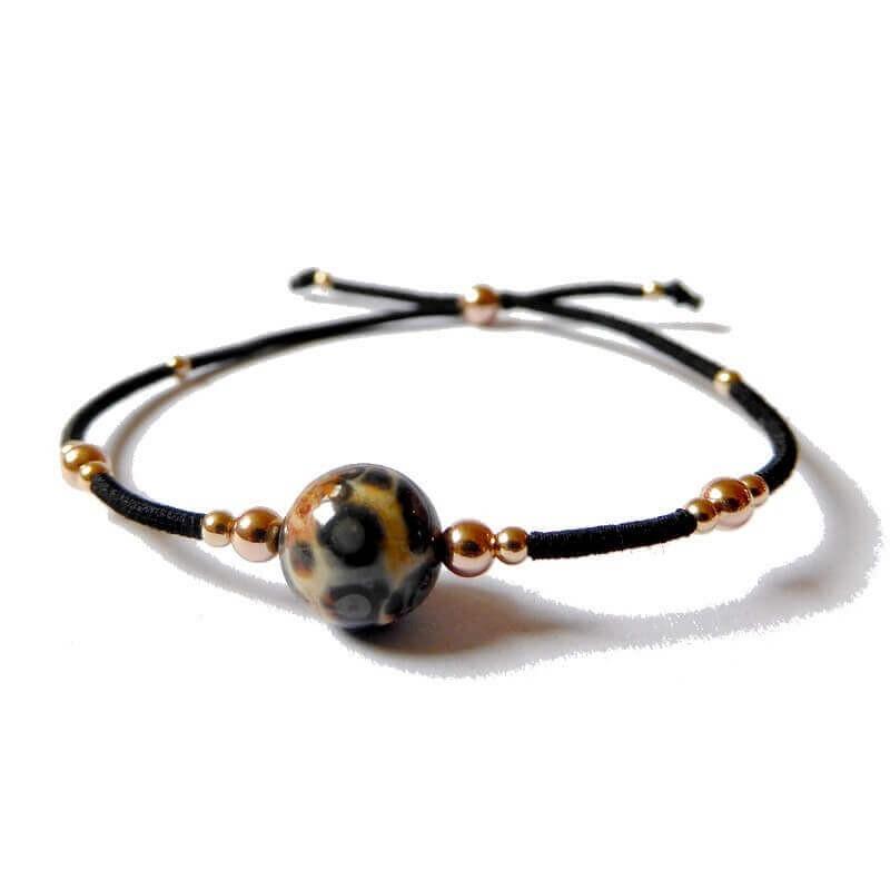 Bracelet jaspe léopard et or rose