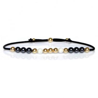 Bracelet hématite, pierre de lune et or jaune
