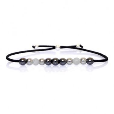 Bracelet hématite, pierre de lune et argent