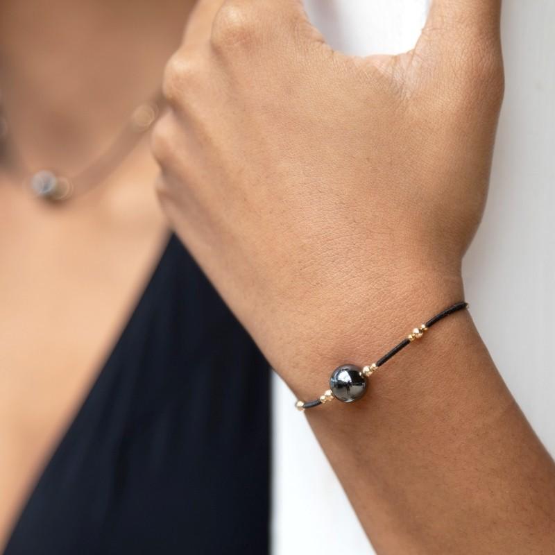 Bracelet hématite et or jaune