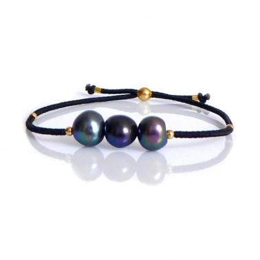 Bracelet perles de culture noires
